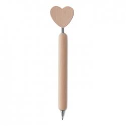 Drewniany długopis z sercem