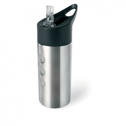 Metalowa butelka, ze słomką