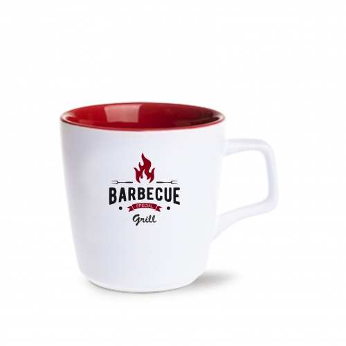 Kubek BARREL PURE | biały matowy/czerwony