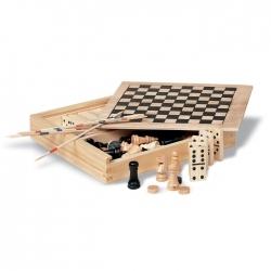 4 gry w drewnianym op